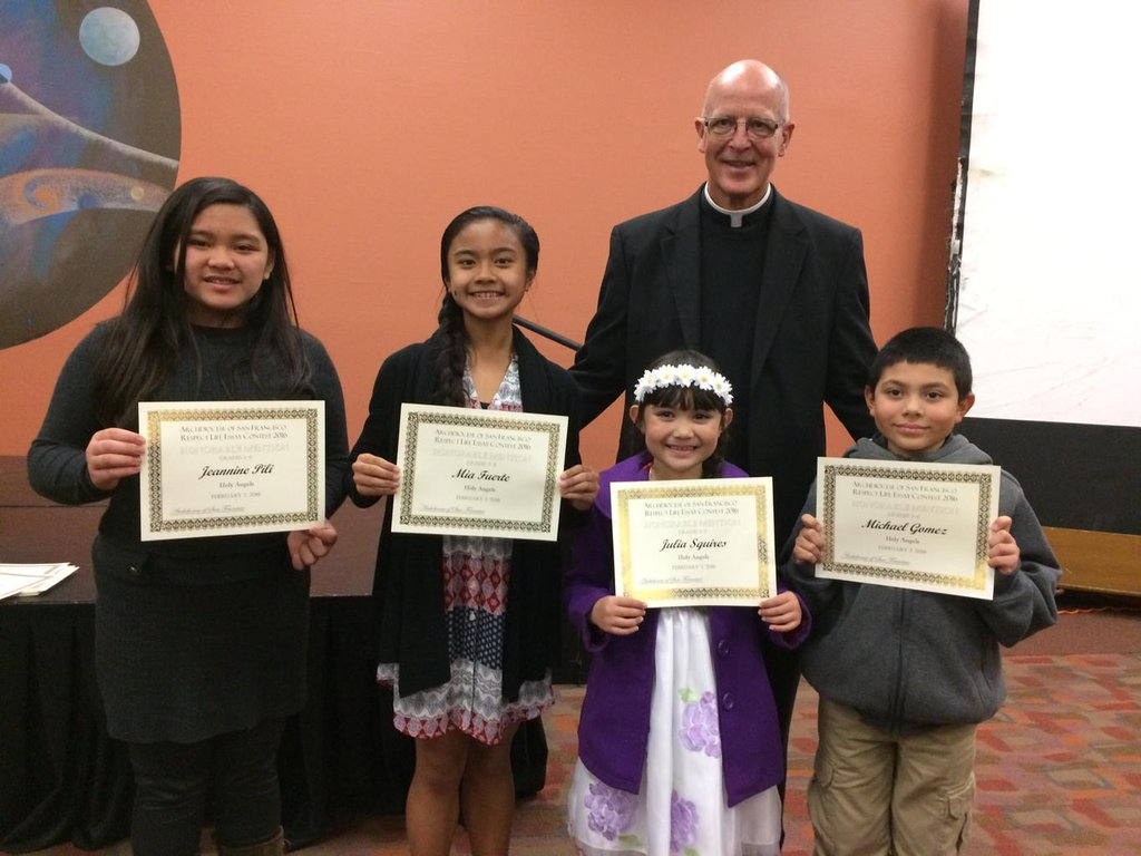 all categories holy angels school respect life essay contest winners and honorable mention award recipients were recognized at a special awards ceremony at st mary s cathedral last sunday